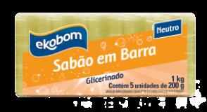 Sabão em barra Ekobom neutro, glicerinado (5 unidades de 200g)