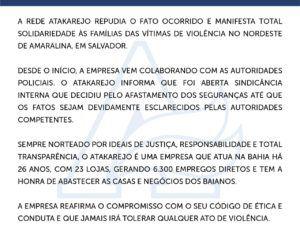 Nota Oficial do Atakarejo - Respeito às Pessoas