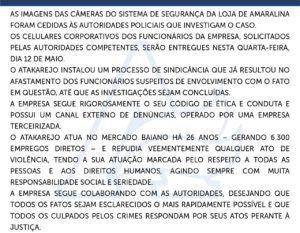 11/05 - Nota Oficial do Atakarejo - Respeito às Pessoas
